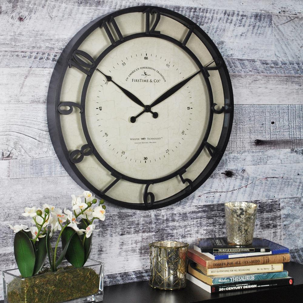 Firstime 225 in round numeral plaques wall clock 10023 the round kensington whisper wall clock amipublicfo Gallery