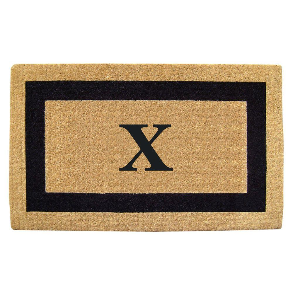 Nedia Home Single Picture Frame Black 22 in. x 36 in. HeavyDuty Coir Monogrammed X Door Mat