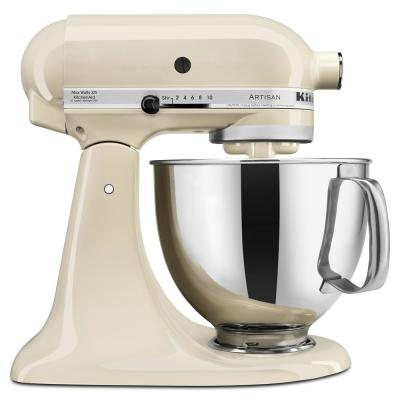 Artisan 5 Qt. 10-Speed Almond Cream Stand Mixer with Flat Beater, 6-Wire Whip and Dough Hook Attachments