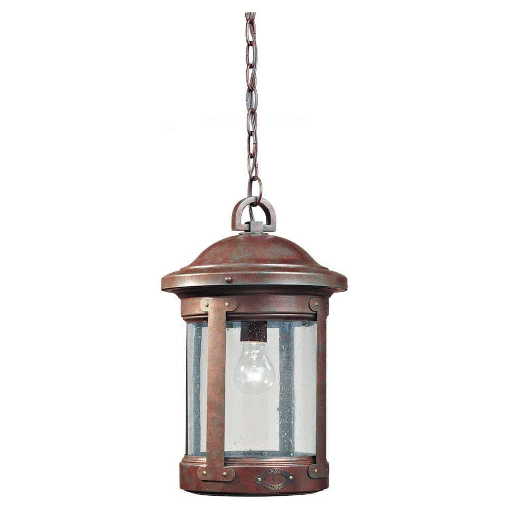 Sea Gull Lighting HSS CO-OP 1-Light Outdoor Weathered Copper Hanging Pendant Fixture