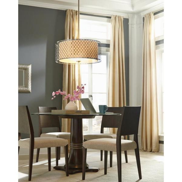 Sea Gull Lighting 6615504-962 Jourdanton Four-Light Island Pendant with Satin Etched Glass and Faux Silk Fabric and Stainless Steel Shades Brushed Nickel Finish