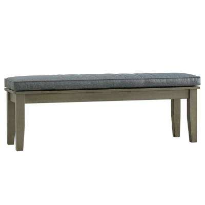 Verdon Gorge 55 in. Gray Oiled Wood Outdoor Bench with Gray Cushion