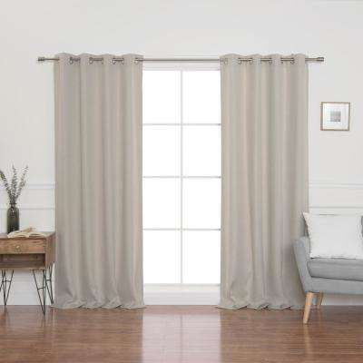 Natural Faux Linen Grommet Blackout Curtain Panel 52 in. x 96 in.