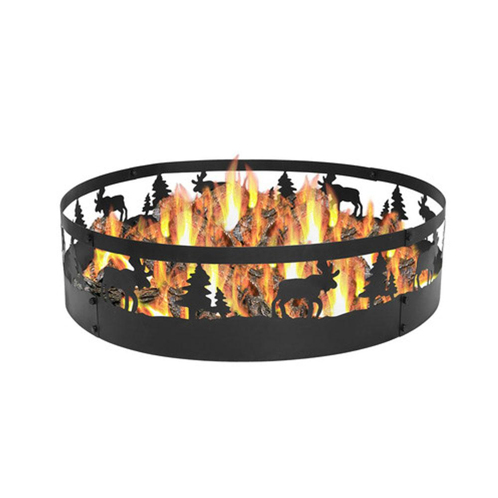 Sunnydaze Decor 36 in. Round Steel Wood Burning Wild Moose Fire Pit Kit
