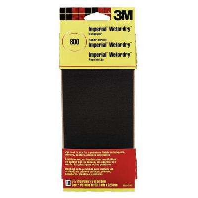 Imperial Wetordry 3-2/3 in. x 9 in. 800 Grit Sandpaper Sheets (10-Pack)(Case of 18)