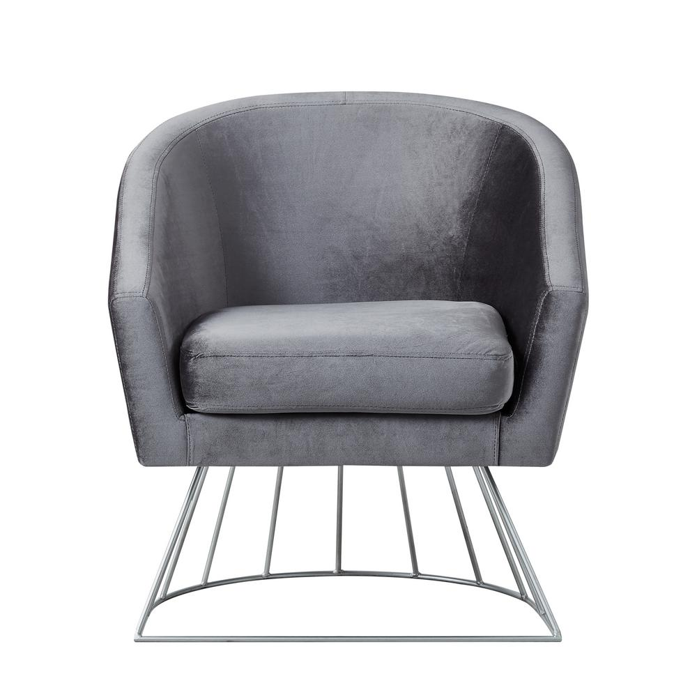 Esmeralda Velvet Grey/Silver Modern Contemporary Barrel Accent Chair with Metal