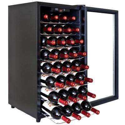 32-Bottle Single Zone Thermoelectric Wine Cooler in Black