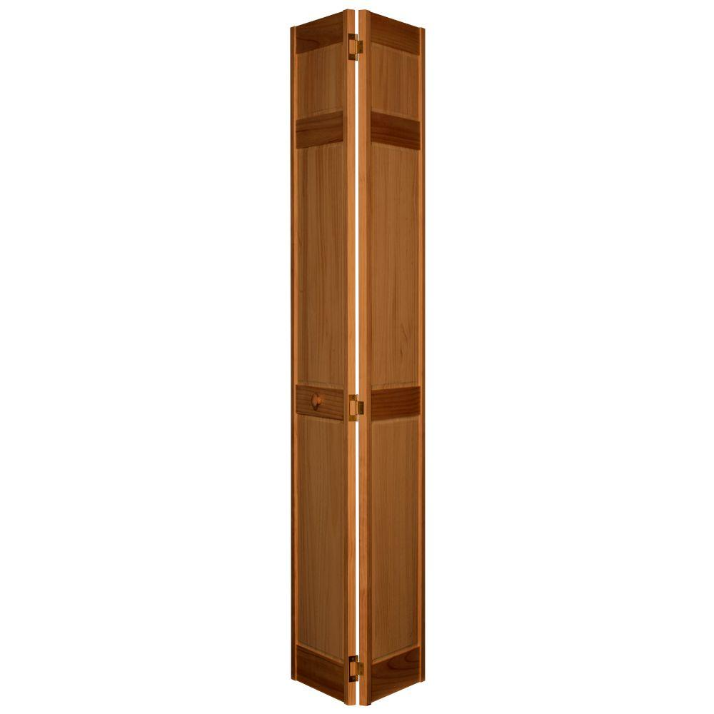 Home Fashion Technologies 6-Panel MinWax Early American Solid Wood Interior Bifold Closet Door-DISCONTINUED