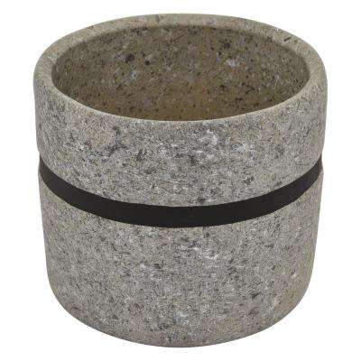 6.75 in. Flower Pot Gray and Black