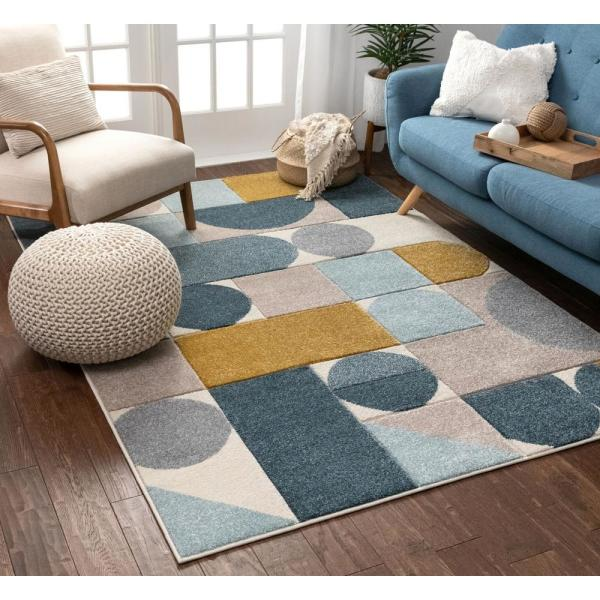 Well Woven Ruby Dede Blue Mid Century Modern Geometric 5 Ft 3 In X 7 Ft 3 In Area Rug Ru 104 5 The Home Depot