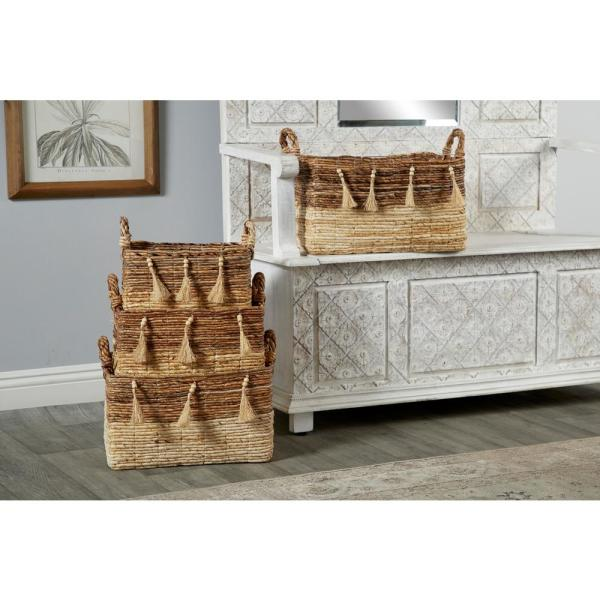 Rectangular Silk Wood and Banana Leaf Storage Wicker Baskets with Handles (Set of 3)