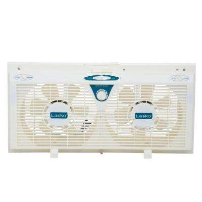 8 in. Electrically Reversible Twin Window Fan with Thermostat