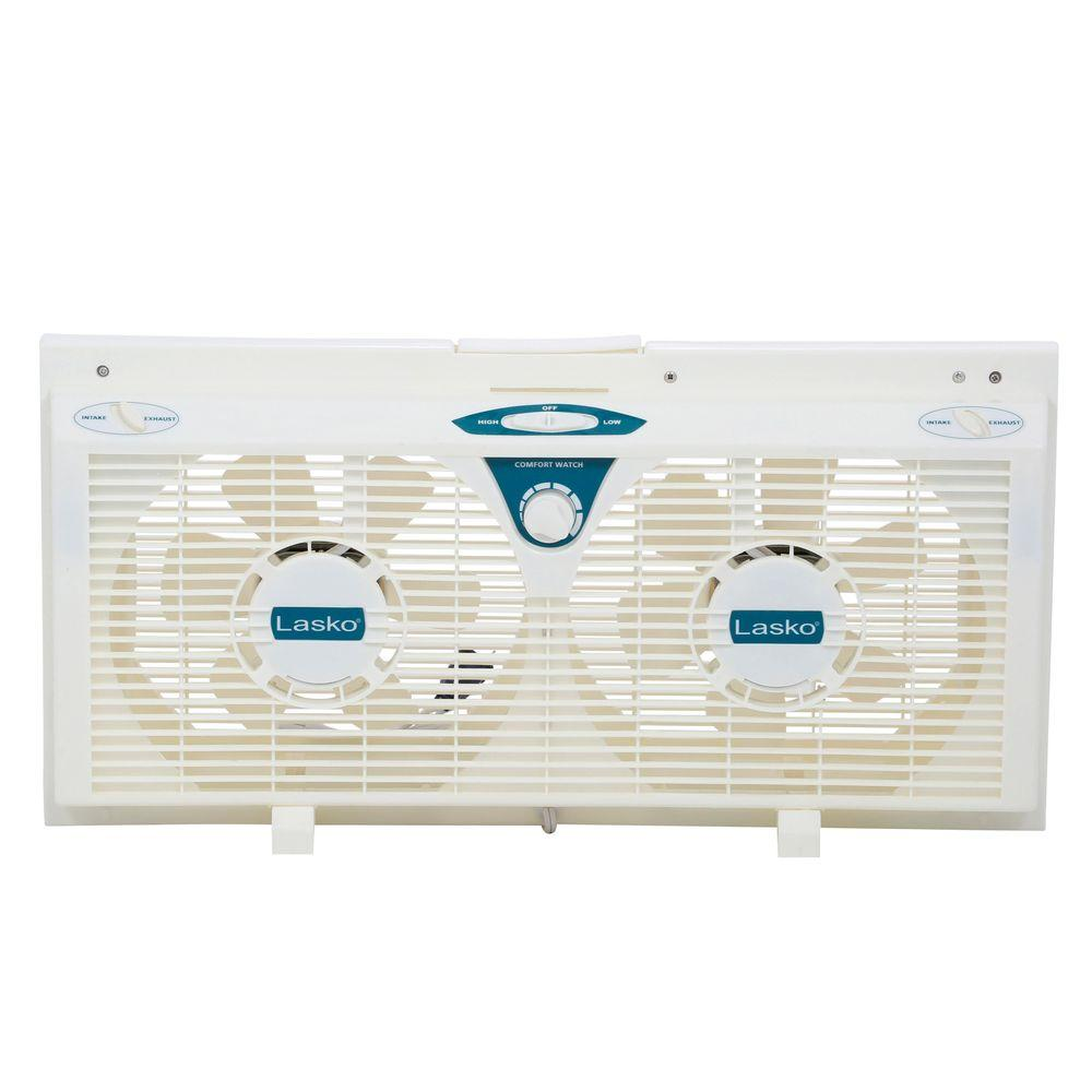 Lasko 8 in. Electrically Reversible Twin Window Fan with Thermostat