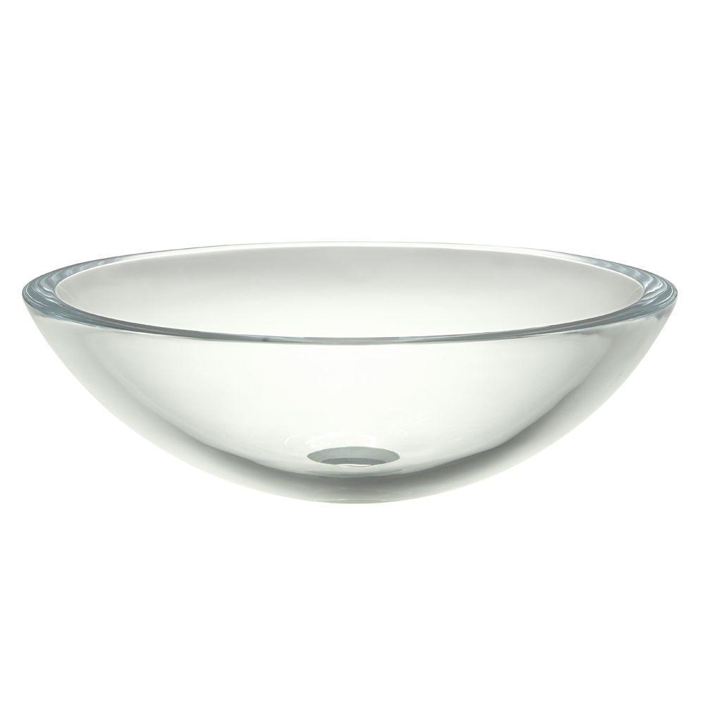 Translucence Glass Vessel Sink in Transparent Crystal