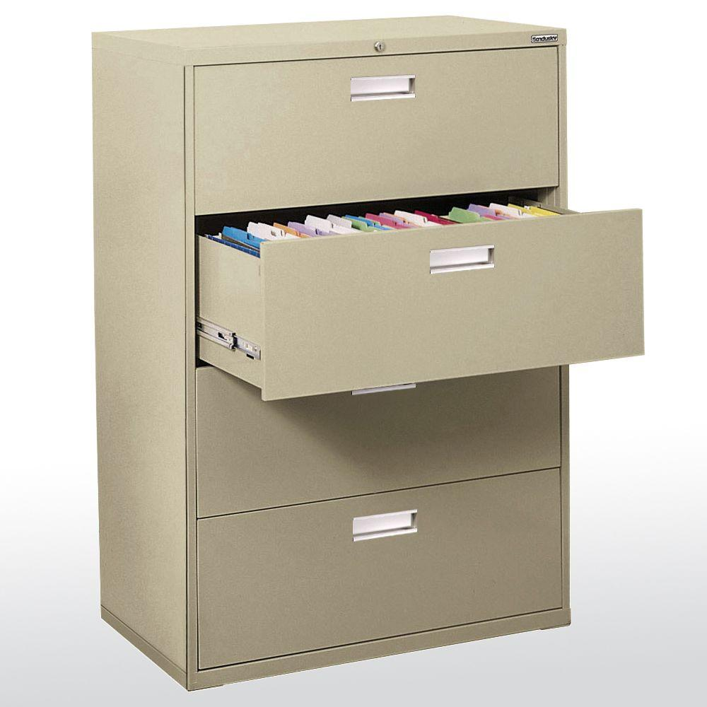 sandusky 600 series 53 25 in h x 42 in w x 19 25 in d 4 drawer rh homedepot com lateral file cabinet wood 4 drawer lateral file cabinet 3 drawer