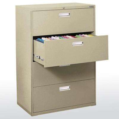 600 Series 53.25 in. H x 42 in. W x 19.25 in. D 4-Drawer Lateral File Cabinet in Putty
