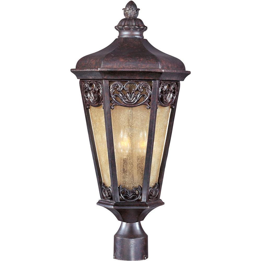 maxim lighting lexington vivex 3 light colonial umber outdoor pole