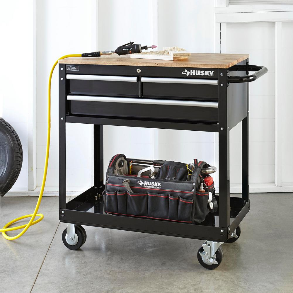 Husky 36 In W 3 Drawer Rolling Tool Cart In Gloss Black With