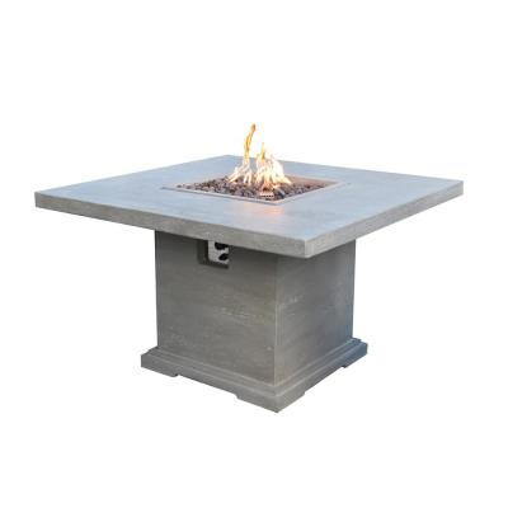 Birmingham Square Concrete Outdoor Dining Fire Pit Table