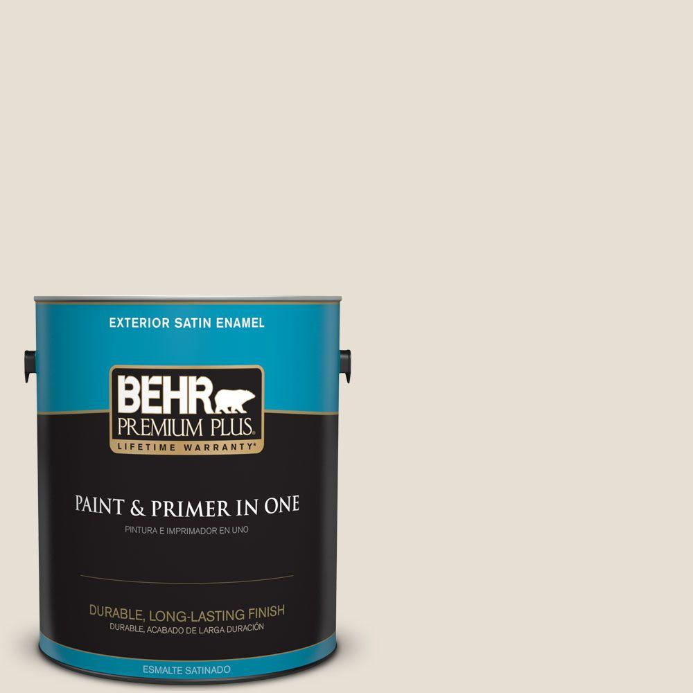 BEHR Premium Plus 1 gal. #73 Off White Satin Enamel Exterior Paint