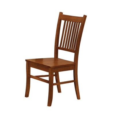 Slat Back Brown Mission Style Wooden Side Chair ( Set of 2 )