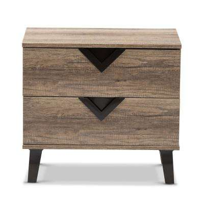 Swanson 2-Drawer Light Brown Wood Nightstand