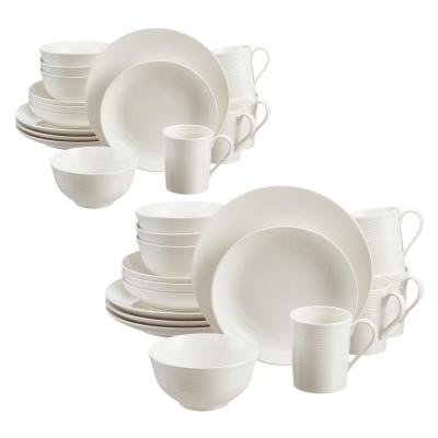 Kempton 32-Piece White Stoneware Dinnerware Set (Service for 8)
