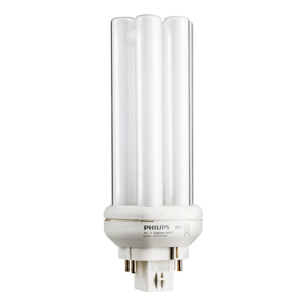 philips 26w plt amalgam bright white gx24q3 quad tube compact fluorescent 4pin light bulb 6pack458463 the home depot