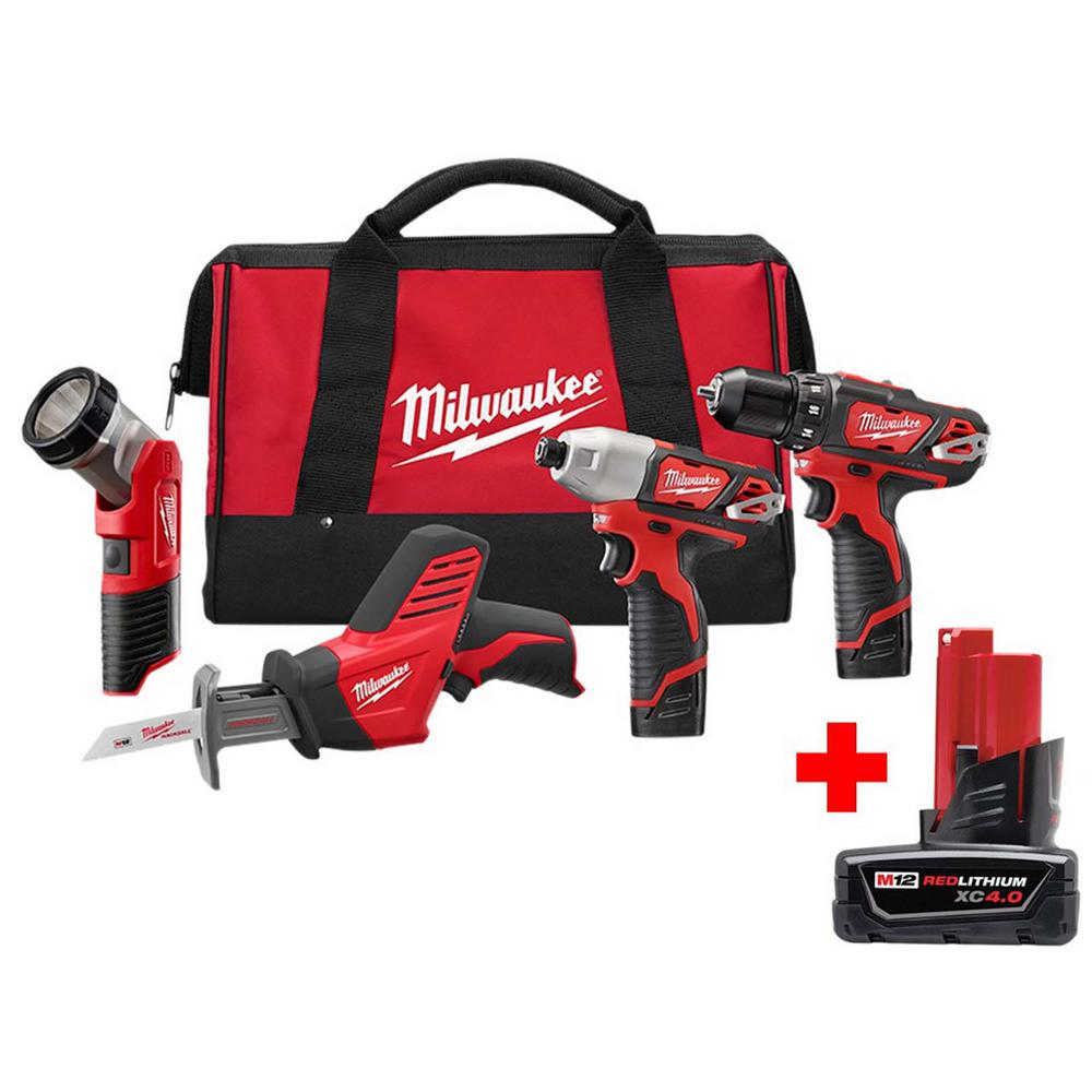 Milwaukee M12 12-Volt Lithium-Ion Cordless Combo Tool Kit (4-Tool) With Free 4.0Ah M12 Battery
