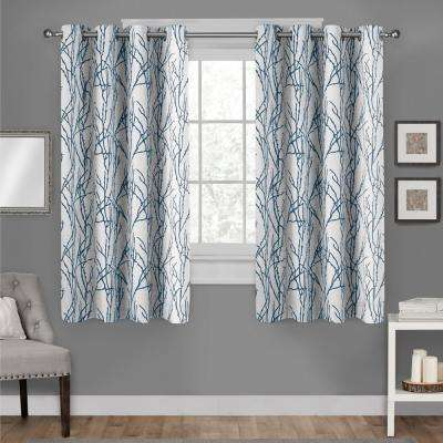 Branches 54 in. W x 63 in. L Linen Blend Grommet Top Curtain Panel in Teal (2 Panels)