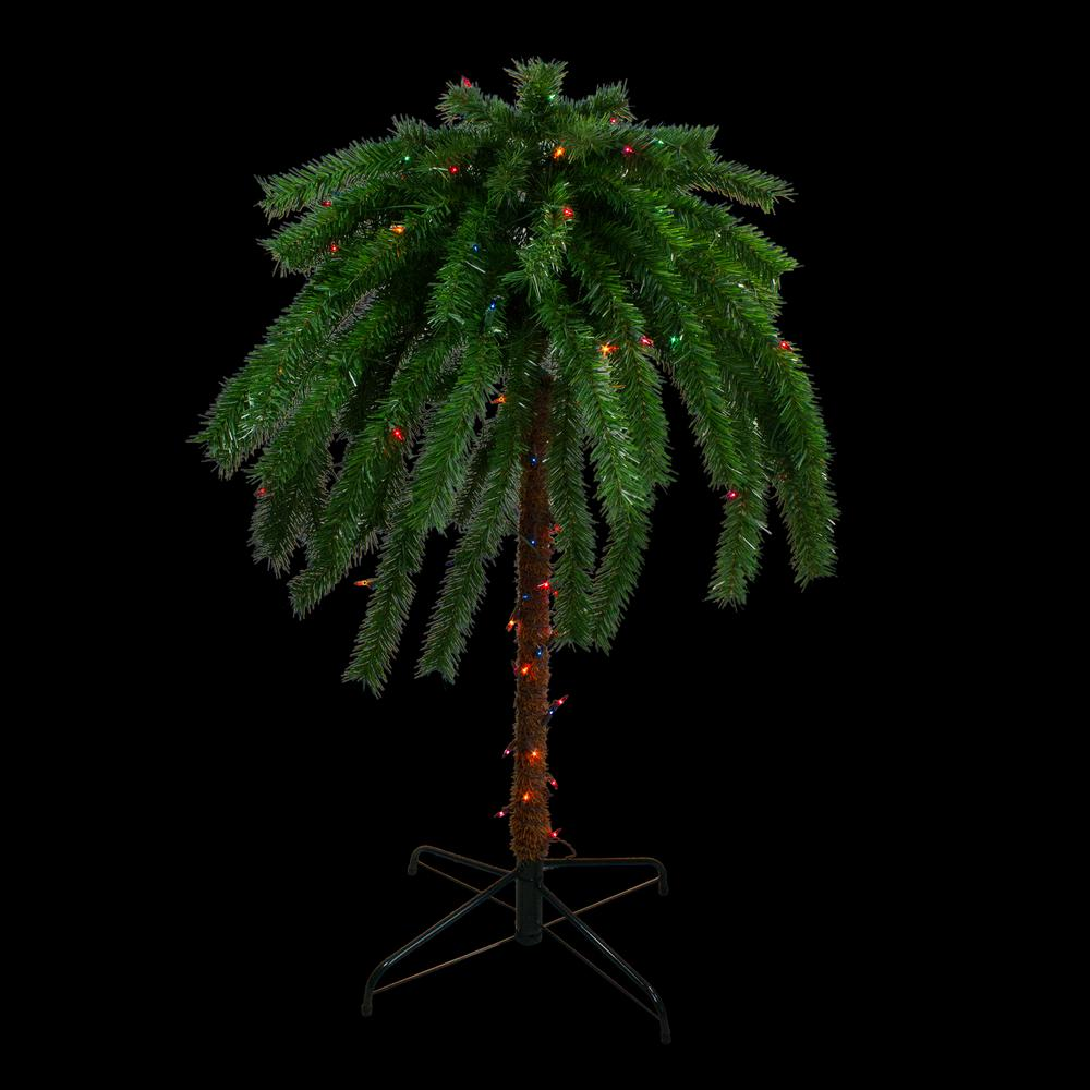 Northlight 4 ft. Pre-Lit Multi-Color Lights Tropical Outdoor Patio Artificial Palm Tree