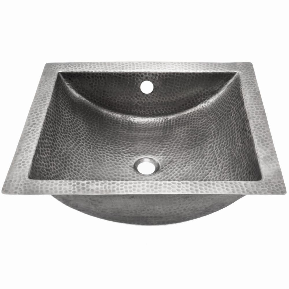 Hammerwerks Series 20.5 in. Undermount Concave Bathroom Sink in Pewter