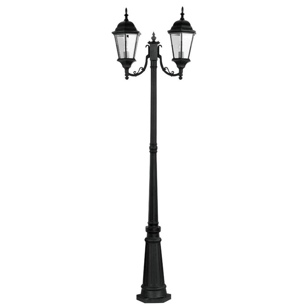 Livex Lighting 2-Light Outdoor Black Incandescent Post Lantern