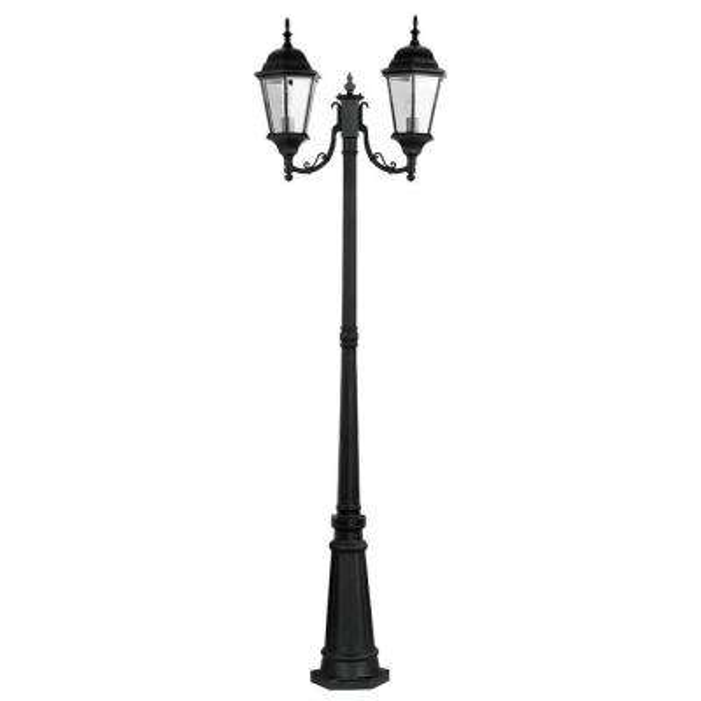 2-Light Outdoor Black Incandescent Post Lantern