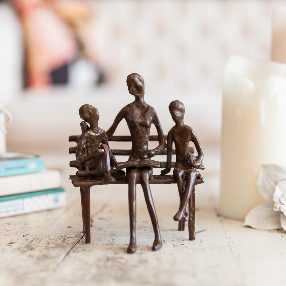 DANYA B Mother Reading to Children Bronze Sculpture ZD10034