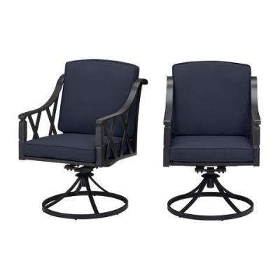 Harmony Hill Black Steel Outdoor Patio Motion Dining Chairs with CushionGuard Midnight Navy Blue Cushions (2-Pack)