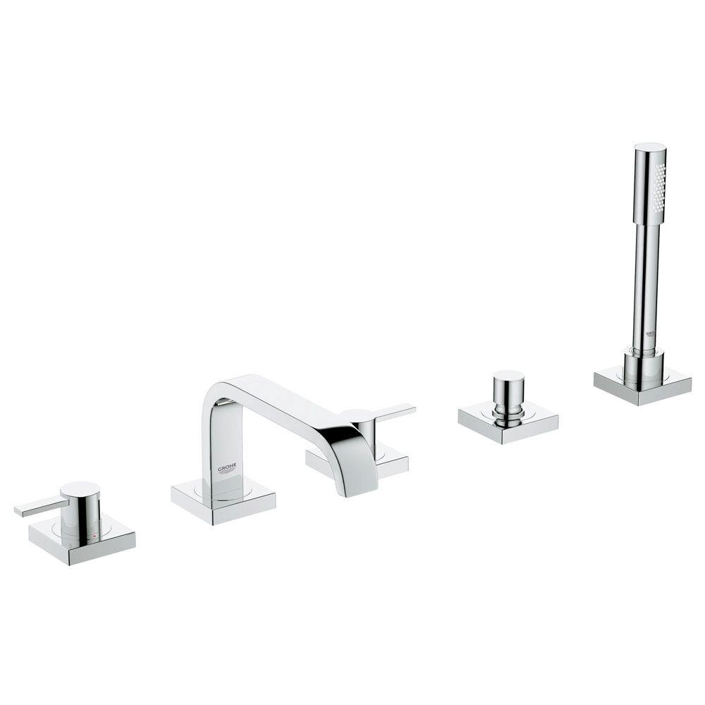 GROHE Allure 2-Handle Deck-Mount Roman Bathtub Faucet with Personal Handheld Shower in StarLight Chrome