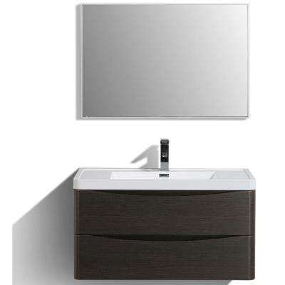 Smile 36 in. W x 20 in. D x 21 in. H Vanity in White with Acrylic Vanity Top in Chest-nut with White Basin