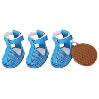 X-Small Ocean Blue Buckle-Supportive PVC Waterproof Dog Sandals Shoes (Set of 4)