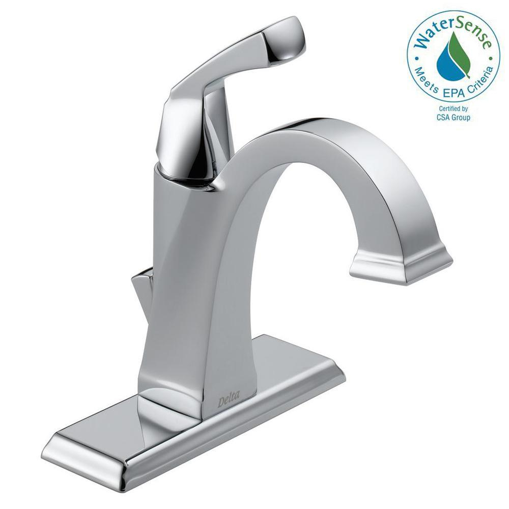 Delta Dryden Single Hole Handle Bathroom Faucet With Metal Drain Embly In Chrome