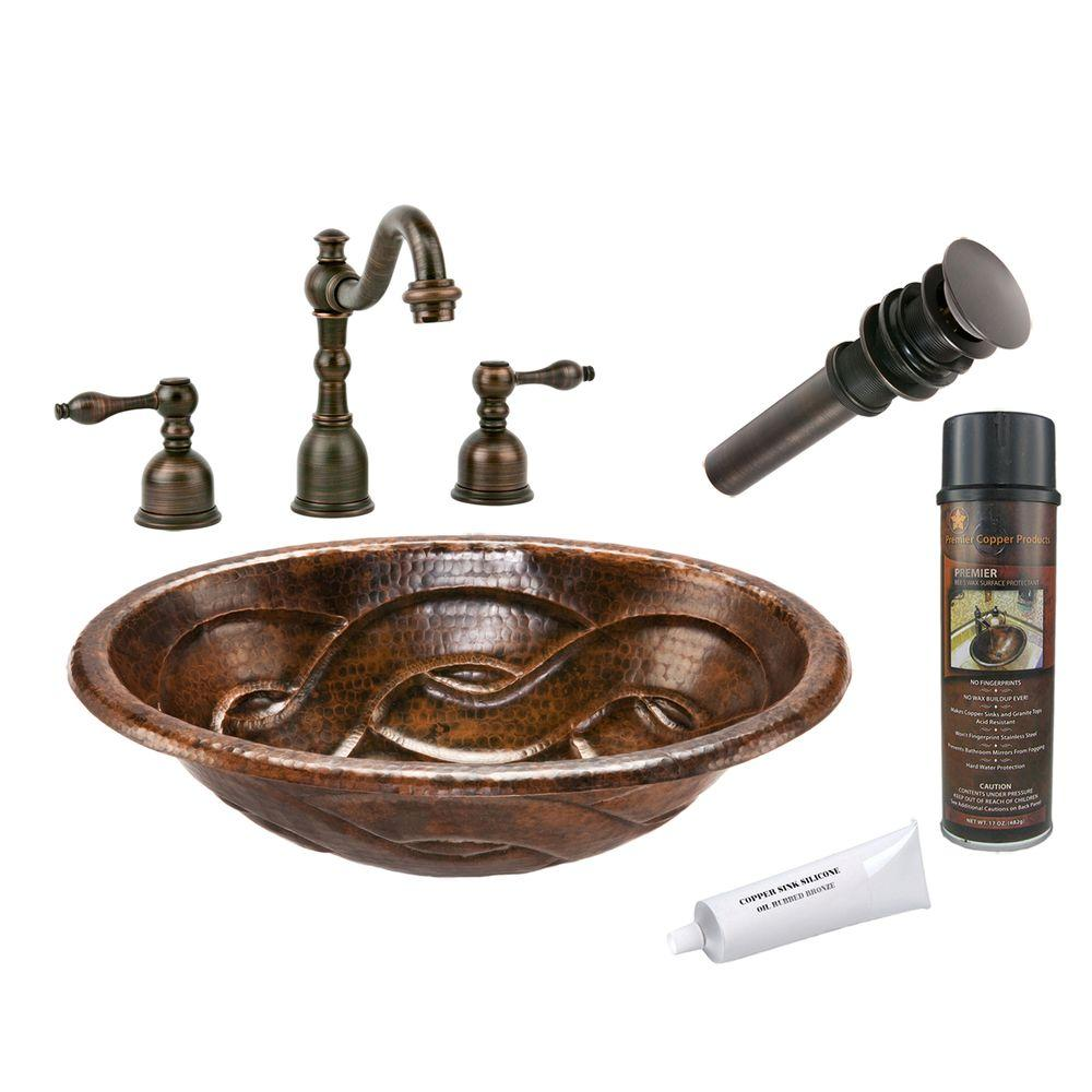 All-in-One Oval Braid Self Rimming Hammered Copper Bathroom Sink in Oil