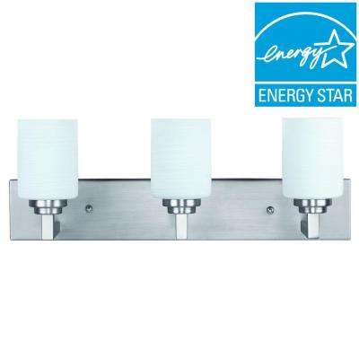 Carmen 3-Light Energy Star Brushed Pewter Vanity Light
