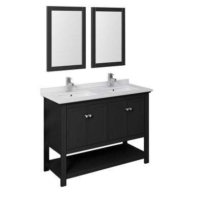 Manchester 48 in. W Bathroom Double Bowl Vanity in Black with Quartz Stone Vanity Top in White with White Basins,Mirrors