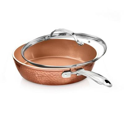 Hammered Copper 10 in. Aluminum Non-Stick Fry Pan with Glass Lid