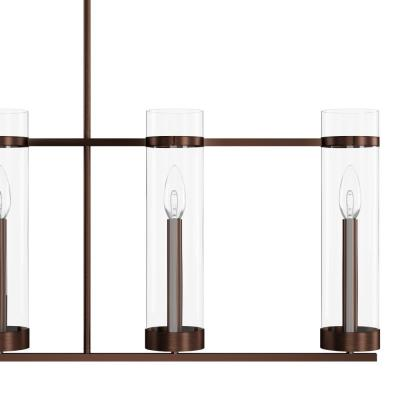 Milan Collection 5-Light Rubbed Bronze Island Fixture with Clear Glass