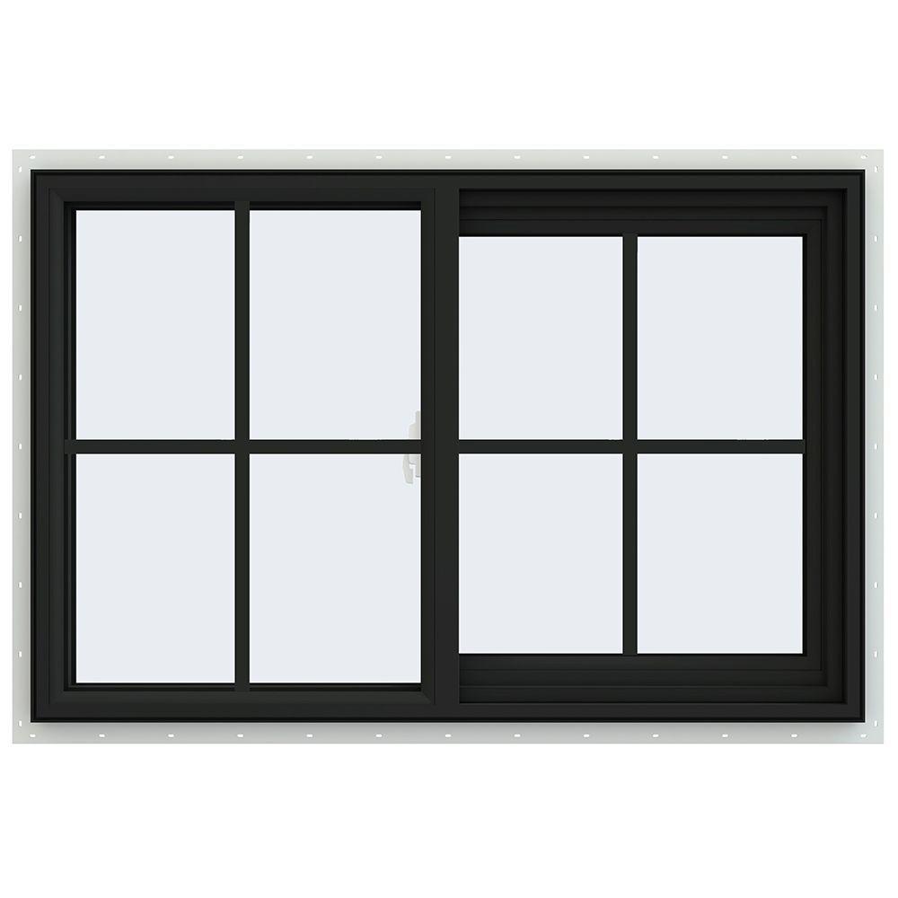JELD-WEN 35.5 in. x 23.5 in. V-2500 Series Right-Hand Sliding Vinyl Window with Grids - Bronze