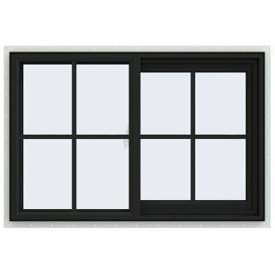 36 in. x 24 in. V-2500 Series Bronze FiniShield Vinyl Right-Handed Sliding Window with Colonial Grids/Grilles