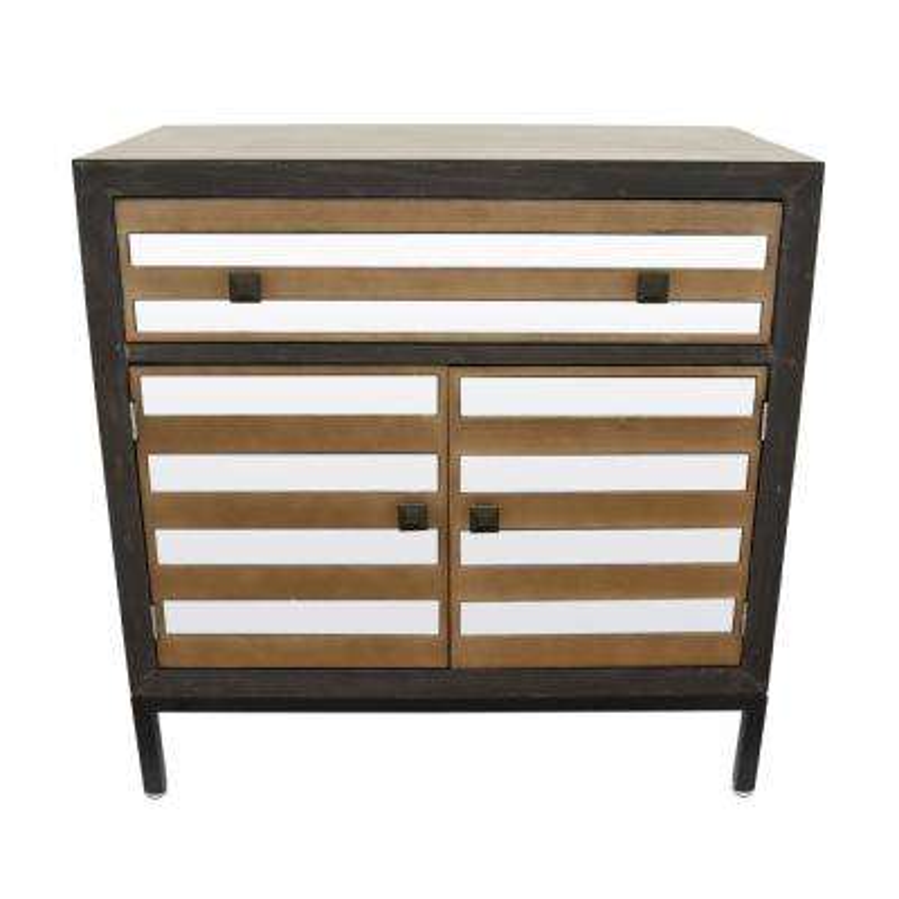 Brown Wood/Mirror Cabinet