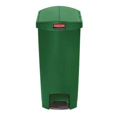 Slim Jim Step-On 13 Gal. Green Plastic End Step Trash Can