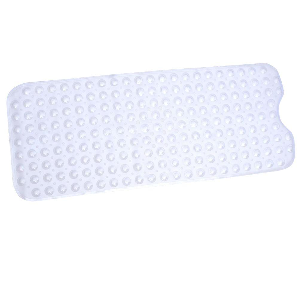 SlipX Solutions 15 in. x 38 in. Recyclable Extra Long Bath Mat in Clear